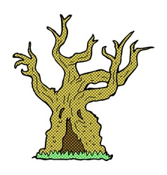 comic cartoon spooky old tree vector image vector image