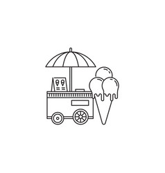ice cream cone and cart icon linear design vector image vector image