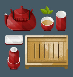 traditional chinese tea utensil set vector image