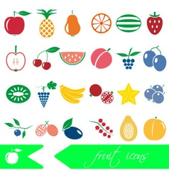 color fruit theme simple icons set eps10 vector image vector image