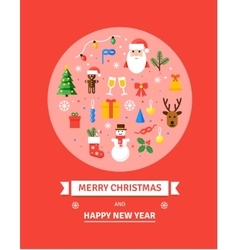 Greeting Christmas Card New Year symbols - vector image