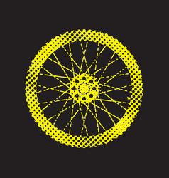 halftone bicycle wheel vector image vector image