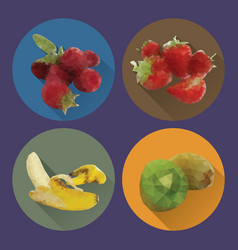 modern flat fruits icons set vector image vector image