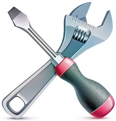 Screwdriver and adjustable wrench realistic vector image