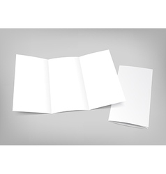 Blank white folding paper flyer on gray background vector image