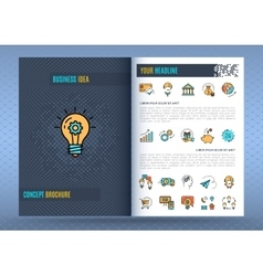 Brochure design template Business icons flat vector image