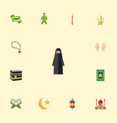 flat icons malay new lunar islamic lamp and vector image