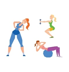 Girl exercise healthy workout gym sport training vector