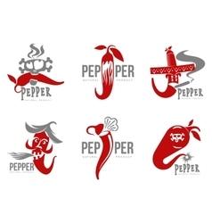 Set of chili pepper logo vector image
