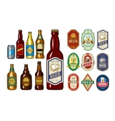 Set of icons beer bottles and label them vector image vector image