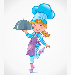 Chef baby with tray vector image