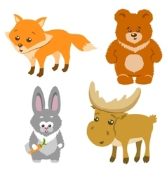 Cute Forest Animals Cartoon Style vector image vector image