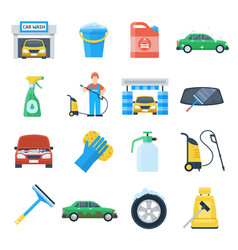 professional carwash object colorful set vector image vector image