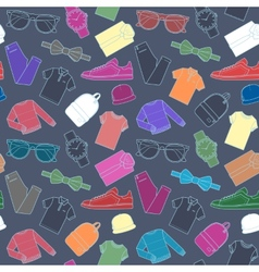 Seamless pattern of mens clothing items vector image