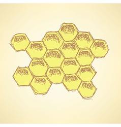 Sketch honey cellsl in vintage style vector image