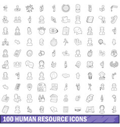 100 human resource icons set outline style vector