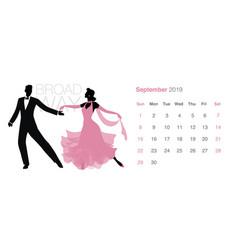 2019 dance calendar september elegant couple vector