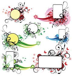 abstract spring floral frames set vector image