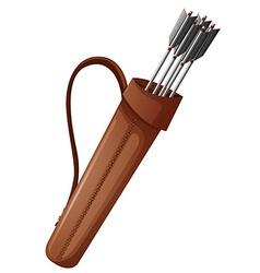 Archery arrows in brown bag vector