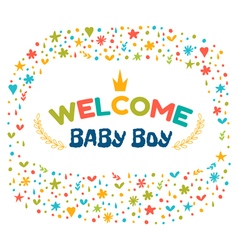 Baby boy shower card Welcome baby boy Baby boy vector