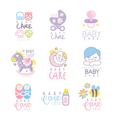 Baby care set for logo design hand drawn vector
