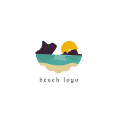 beach logo on white background vector image