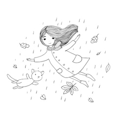 Beautiful little girl and a cute cartoon cat vector image