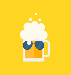 Beer mug with foam and sunglasses vector