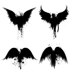 black grunge silhouettes vector image