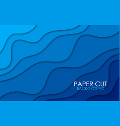 blue background with paper cut shapes vector image