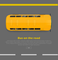 bus on road conceptual flat web banner vector image vector image