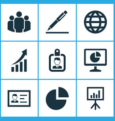 Business icons set collection of identification vector