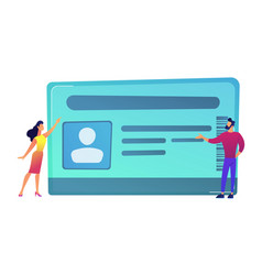 Businessman and woman pointing at id card vector