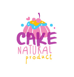 cake natural product logo design label for vector image