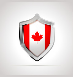 canada flag projected as a glossy shield isolated vector image