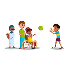 Cartoon disabled teen kids playing set vector