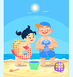 cartoon girl and boy playing in the sand vector image