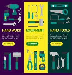 cartoon hand tools banner vecrtical set vector image