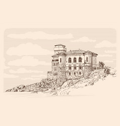 castle and landscape vector image