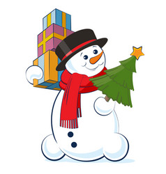 christmas snowman wearing a top hat and scarf vector image