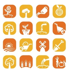 Color gardening icon set vector