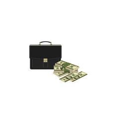color image portfolio and money briefcase vector image