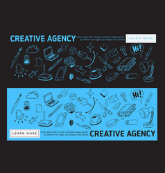 creative agency office web banner design vector image