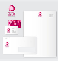 crystal logo silhouette house identity pink vector image