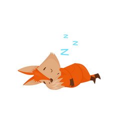 Cute cartoon red fox character sleeping on the vector