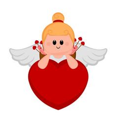 cute cupid girl on a heart shape vector image
