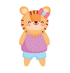 Cute female tiger with clothes and bow animal vector