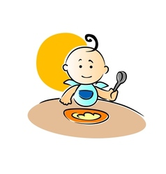 Cute little baby sitting eating its food vector