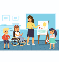 Disability kids school educational projects vector