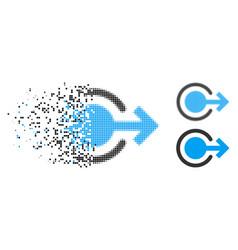 Dissolving dot halftone logout icon vector